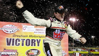 Ty Dillon celebrates his first career series win in Victory Lane at Gresham Motorsports Park
