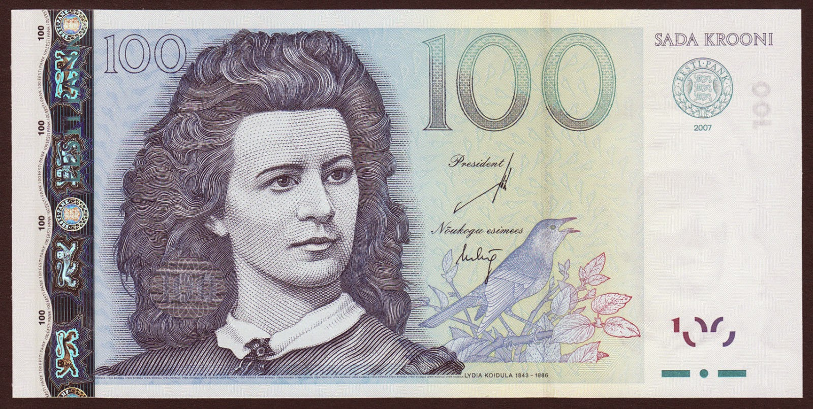 Estonia currency money 100 krooni banknote, Lydia Koidula