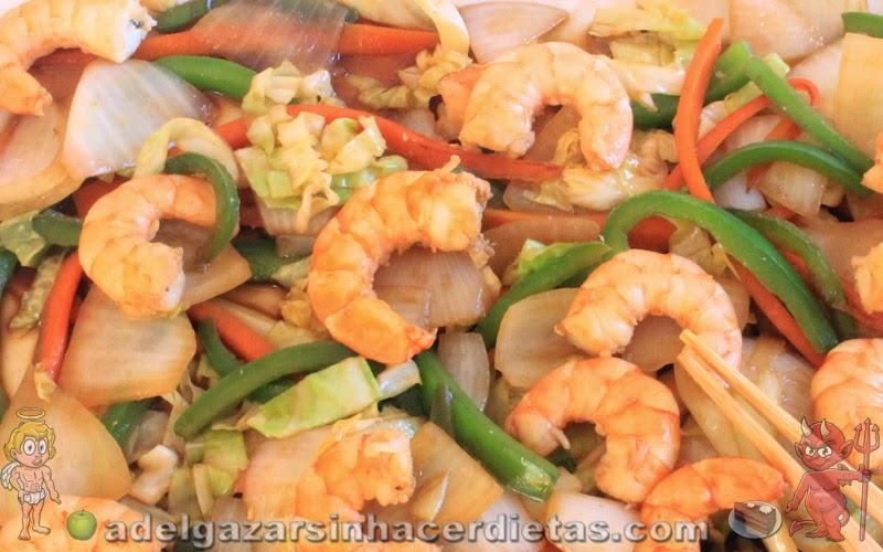 Chop suey de gambas o camarones