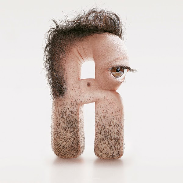 Shocking Hairy Typeface Made of Human Flesh