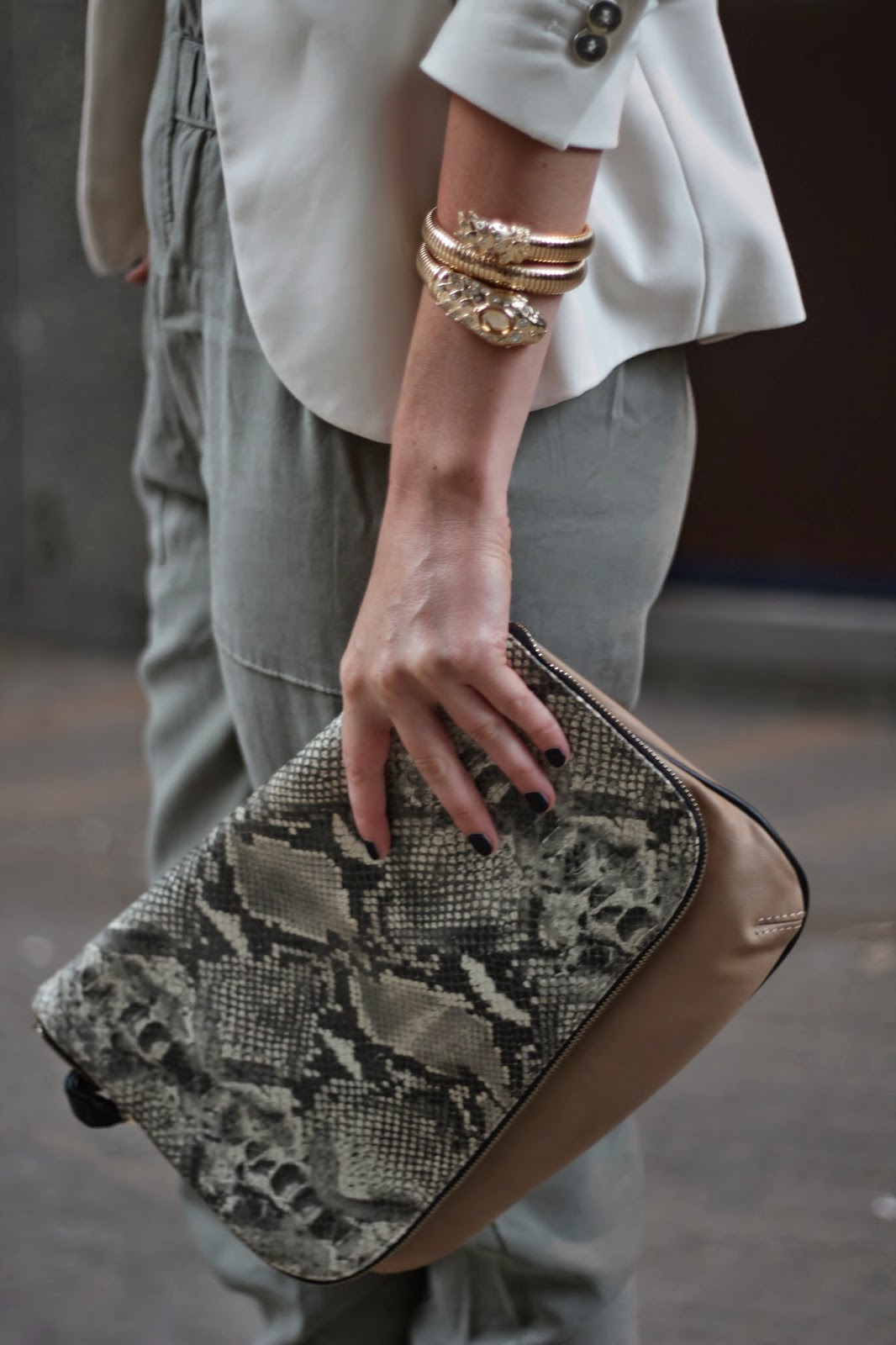 anna dello russo for H&M, snake bracelet, chanel blue satin, zara clutch, zara bag, snake printn clutch