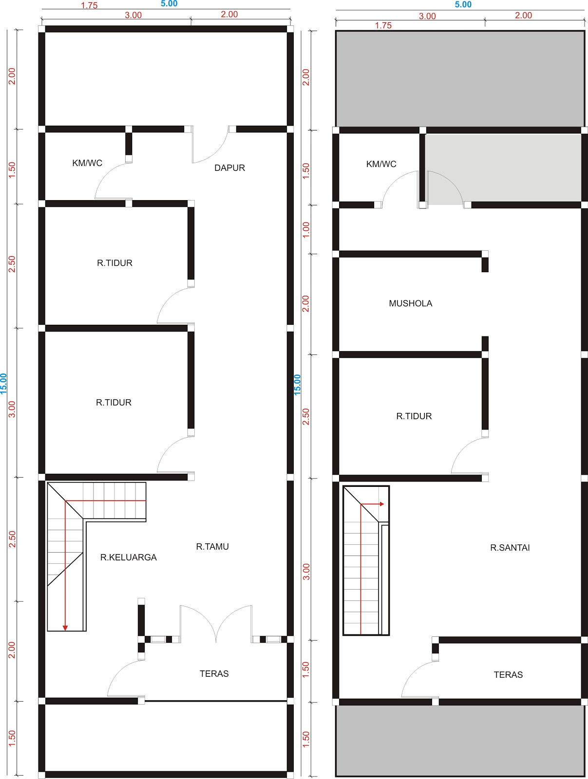 vastusianu rumah dua lantai di lahan 5x15m