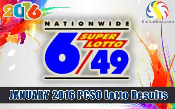 Image: January 2016 PCSO Superlotto 6/49