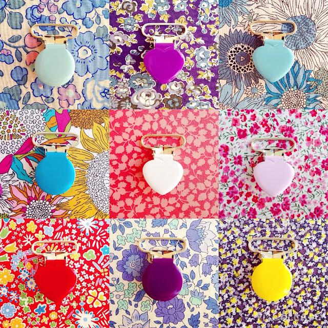 Seleclips i forskellige farver og faconer (hjerte & runde) kan købes i stofbutikken bettyp.dk