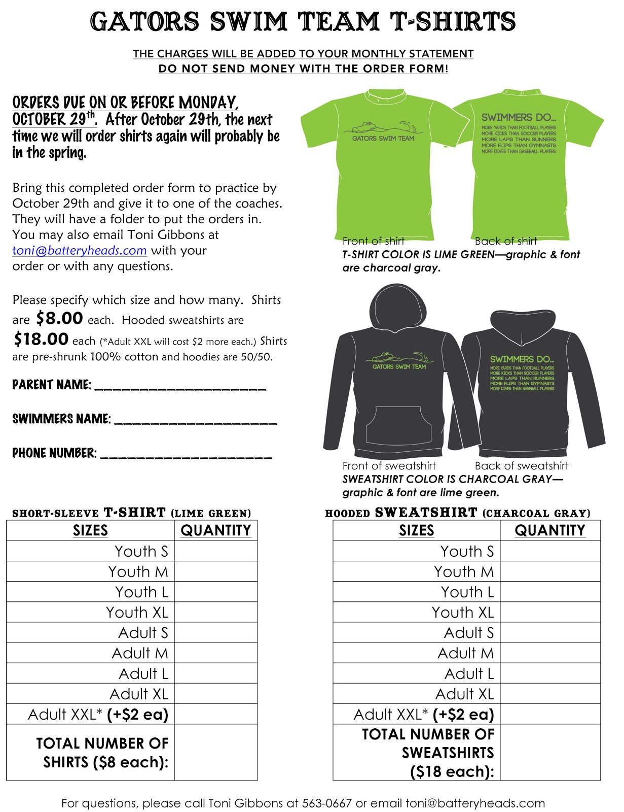 Order Form For Shirts Shirt Fundraiser Order Form