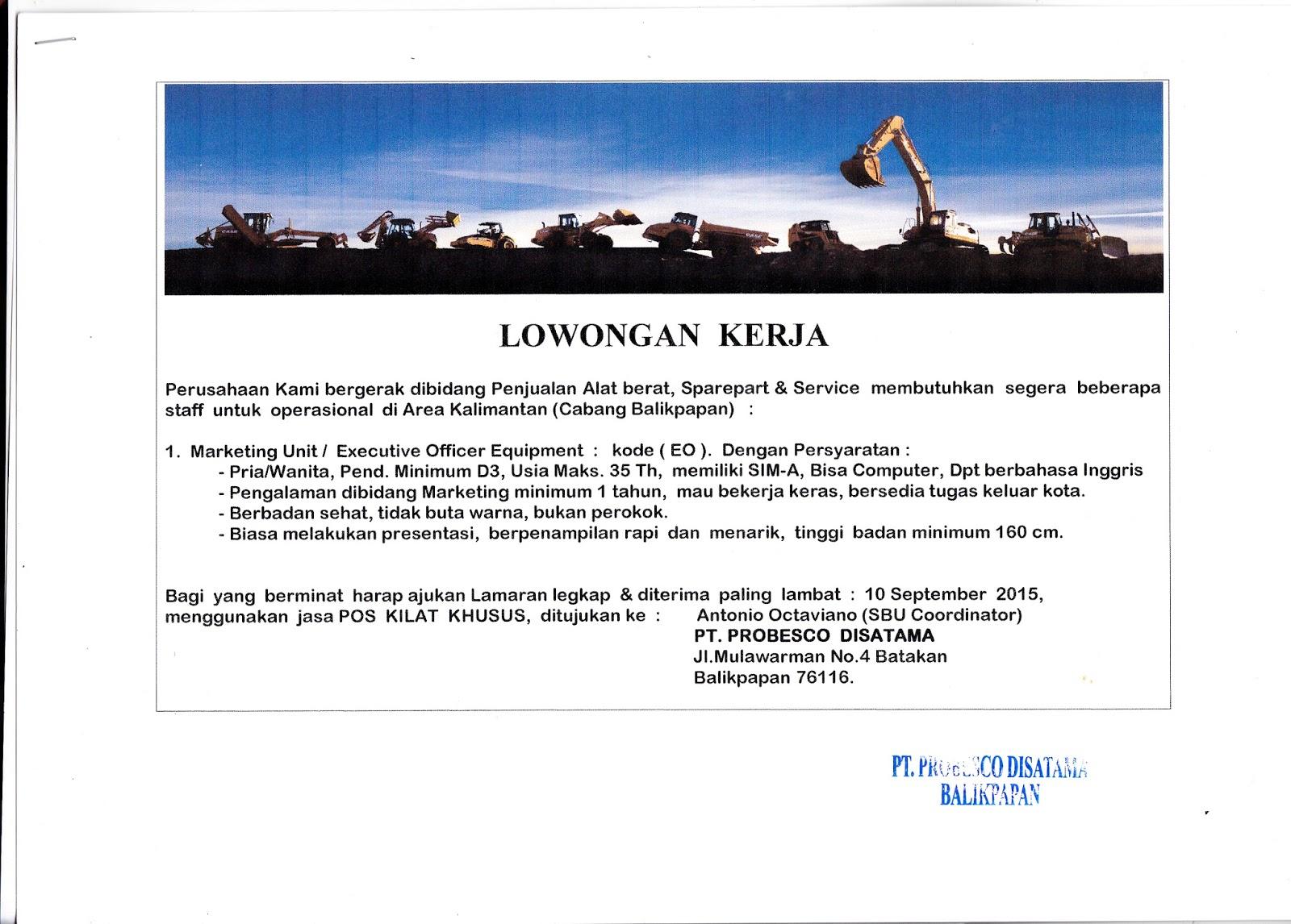Lowongan Kerja Kota Balikpapan: PT.PROBESCO DISATAMA (Umum)