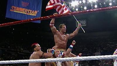 WWF SummerSlam 1993 Lex Luger Celebrates Victory Yokozuna WWF Championship