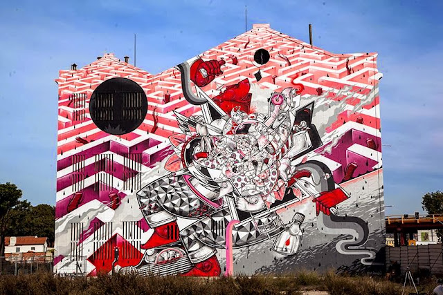 New Street Art Mural By How & Nosm For Underdgos in Lisbon, Portugal. 1
