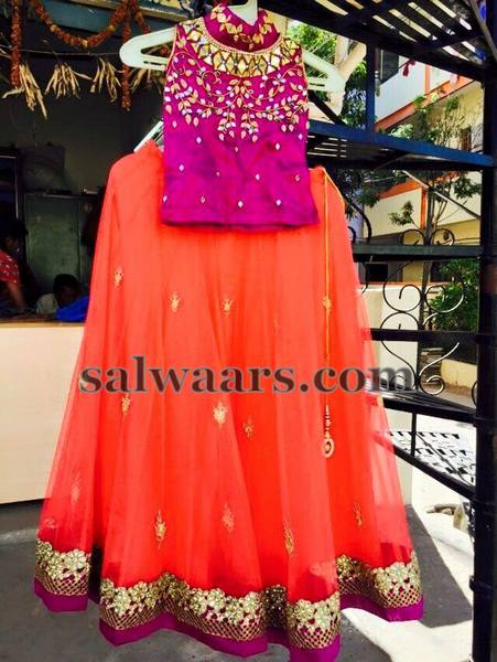 Bright Peach and Purple Lehenga
