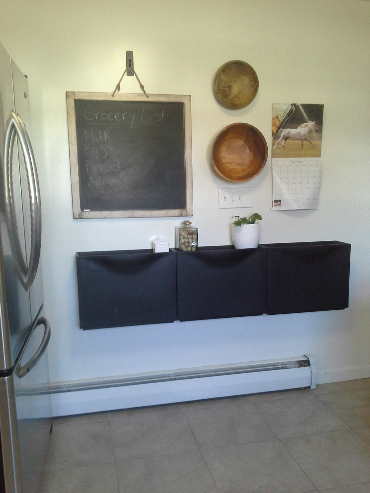 Ikea Trones In The Kitchen For Recycling, Stainless Steel Refrigerator DIY  Chalkboard