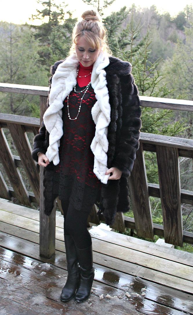 black lace tunic, faux fur scarf, faux fur coat