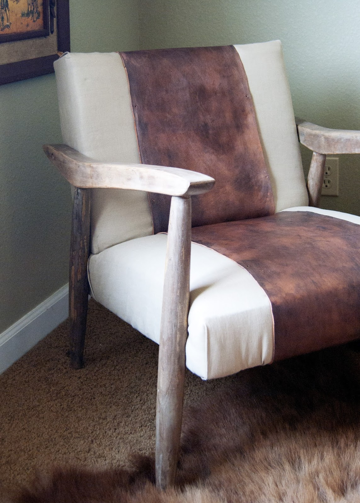 Vinegar stained legs, linen fabric and leather