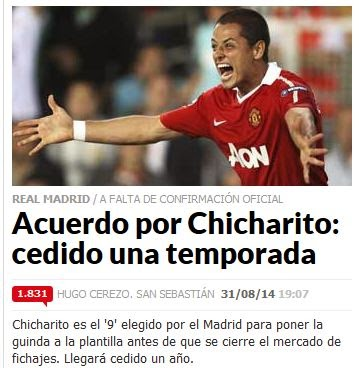 Chicharito a Préstamo al Real Madrid