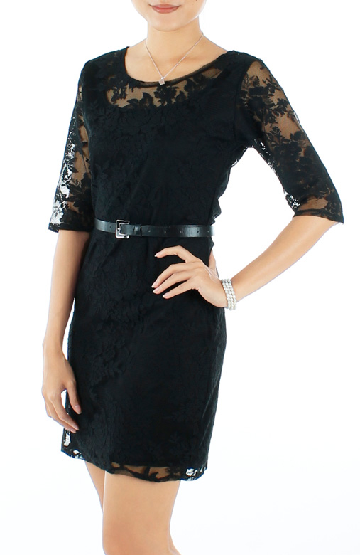 Regal Lace Overlay Dress with 1/2 Sleeves