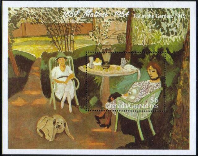 年度不明1995年グレナダ領グレナディーン諸島 アンリ・マティス『Tea in the Garden』の切手シート