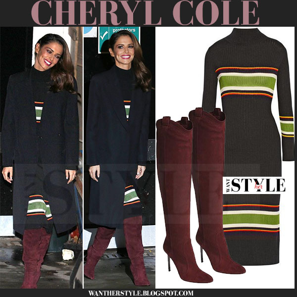 Cheryl Cole in black coat, black striped suno midi dress and burgundy tamara mellon suede boots what she wore
