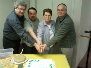 Omemee Baptist Church Board of Deacons Cutting Cake April 2012