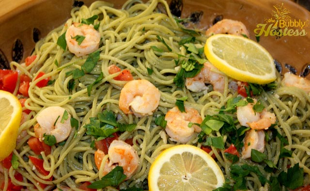 ... Garlic Shrimp Served Over Spinach Spaghetti In A White Wine Butter