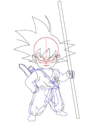 cara menggambar Goku kecil tahap 15
