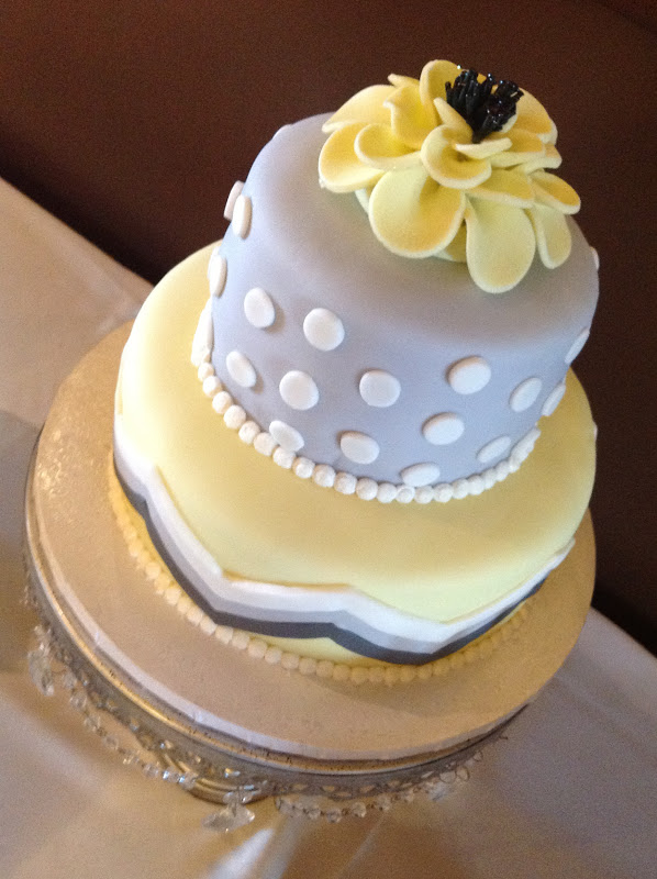 Plumeria Cake Studio: Grey and Yellow Wedding Cake and Buffet