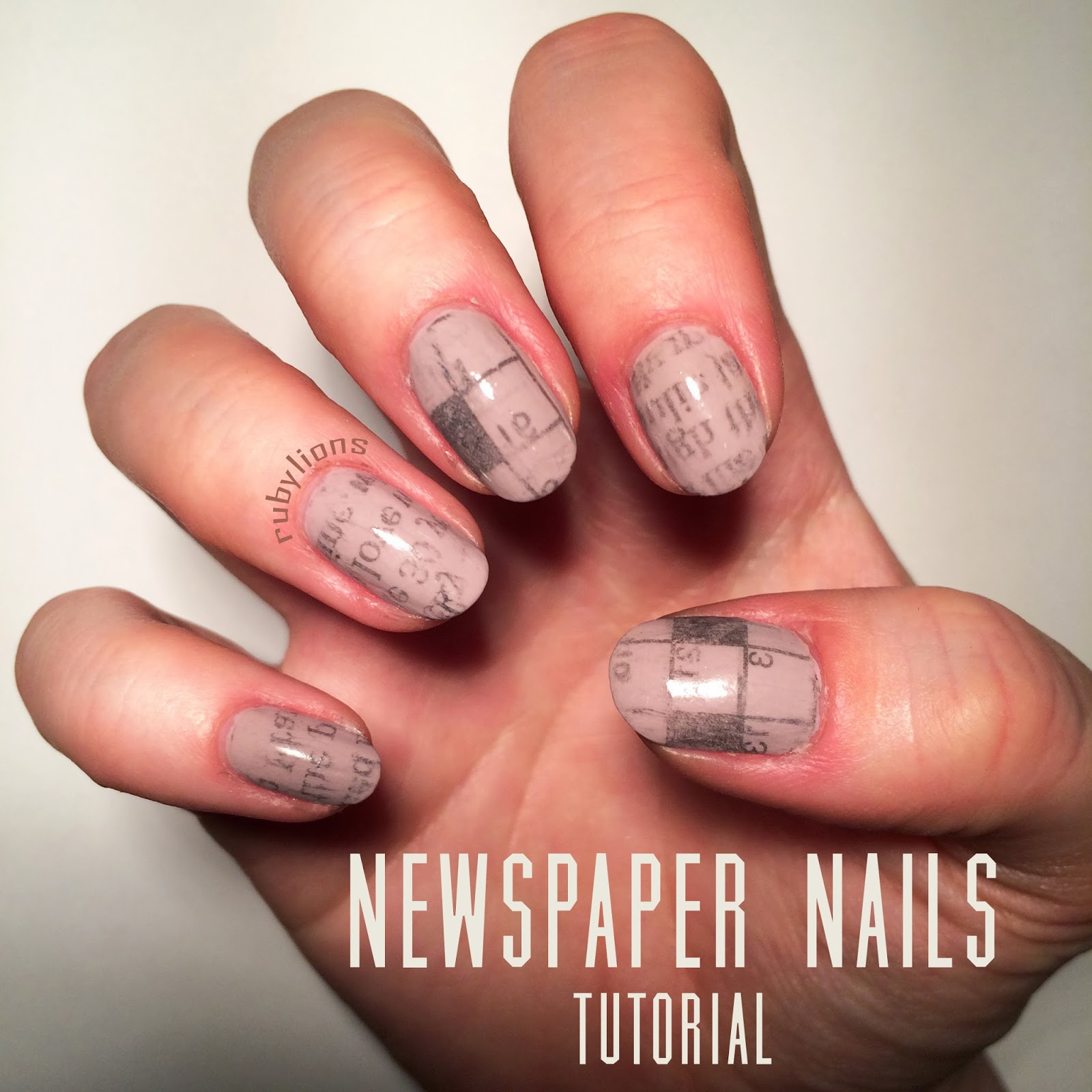 Tutorial: Newspaper and Crossword Nail Art | Claire Victoria