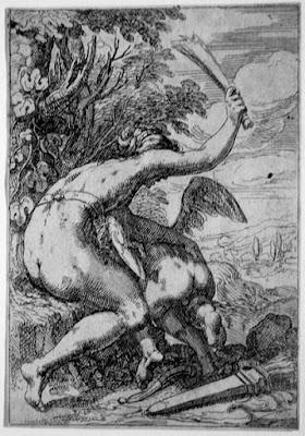 venus castigando al amor profano, escena de flagelacion en un grabado inspirado en il parmigianino
