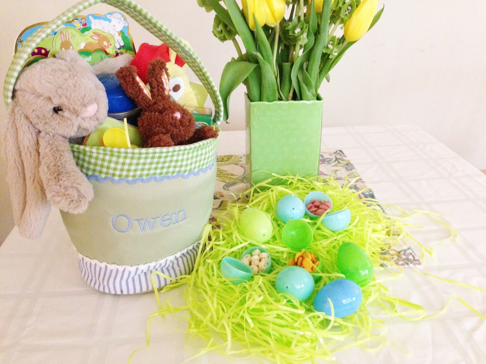 Meet the sullivans owens easter basket im going to order him a wicker basket personalized liner when they go on sale this year after easter so next year hell use this fabric one for easter negle Gallery