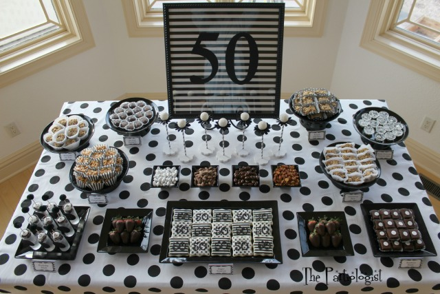 The partiologist black white birthday party for Black and white polka dot decorations