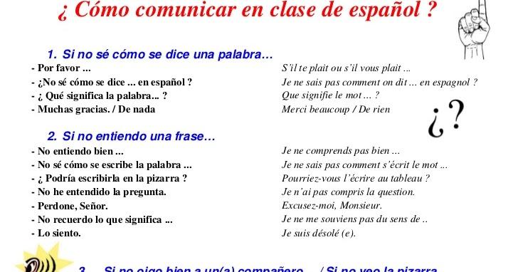 Top Soutien Espagnol - Lycée Elisa Lemonnier: Para comunicar en clase BF53