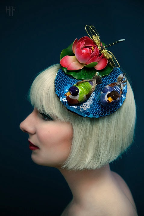 duck, fascinator, royal ascot, pond, lily, dragonfly, races, millinery, quirky