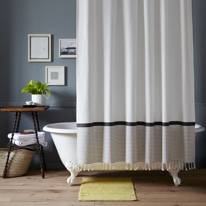 Stripe Border Shower Curtain From West Elm