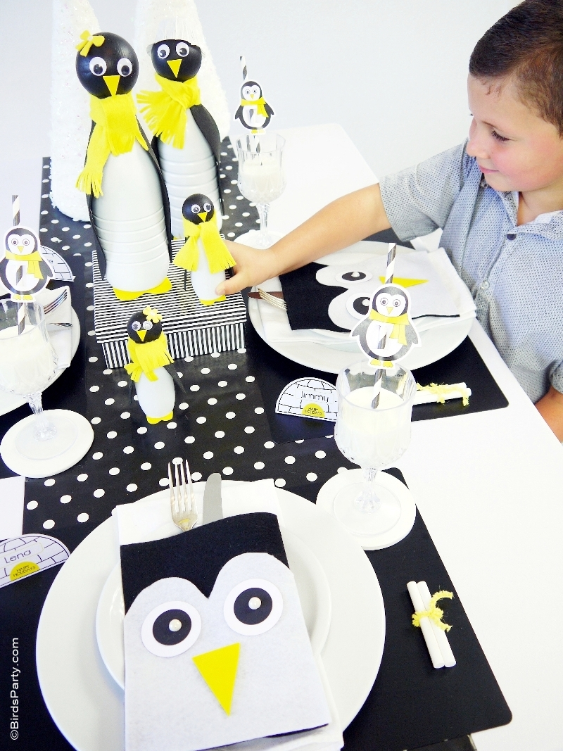 Kids' Holiday Table - A Penguin Inspired Black, White and Yellow Chic Christmas Table with FREE Printables