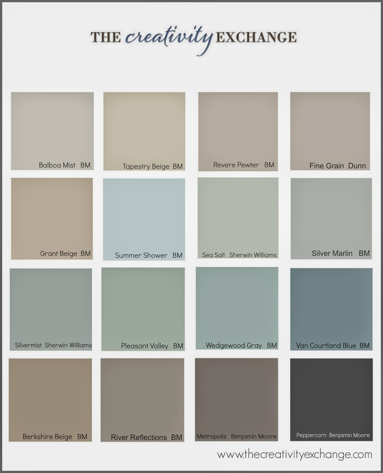 Sherwin williams beige paint color chart 2017 2018 for Beige white paint color