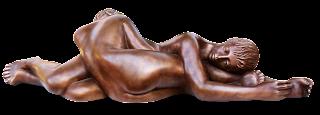 Statue style figuratif : Deux femmes nues sensuelles, allongées