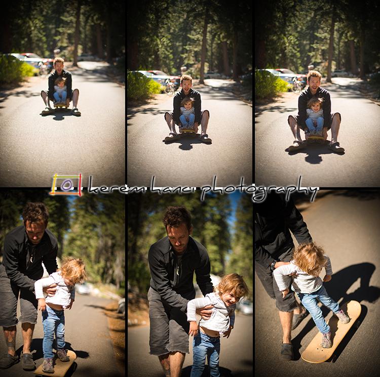 Uncle Joe is teaching Vivienne how to skateboard.