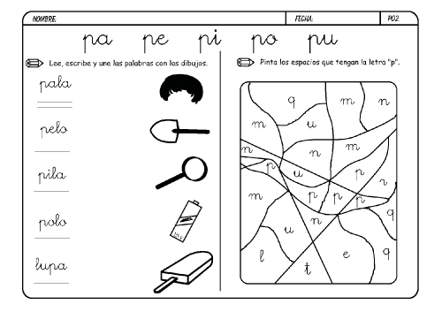 Palabras con la letra p para colorear - Imagui