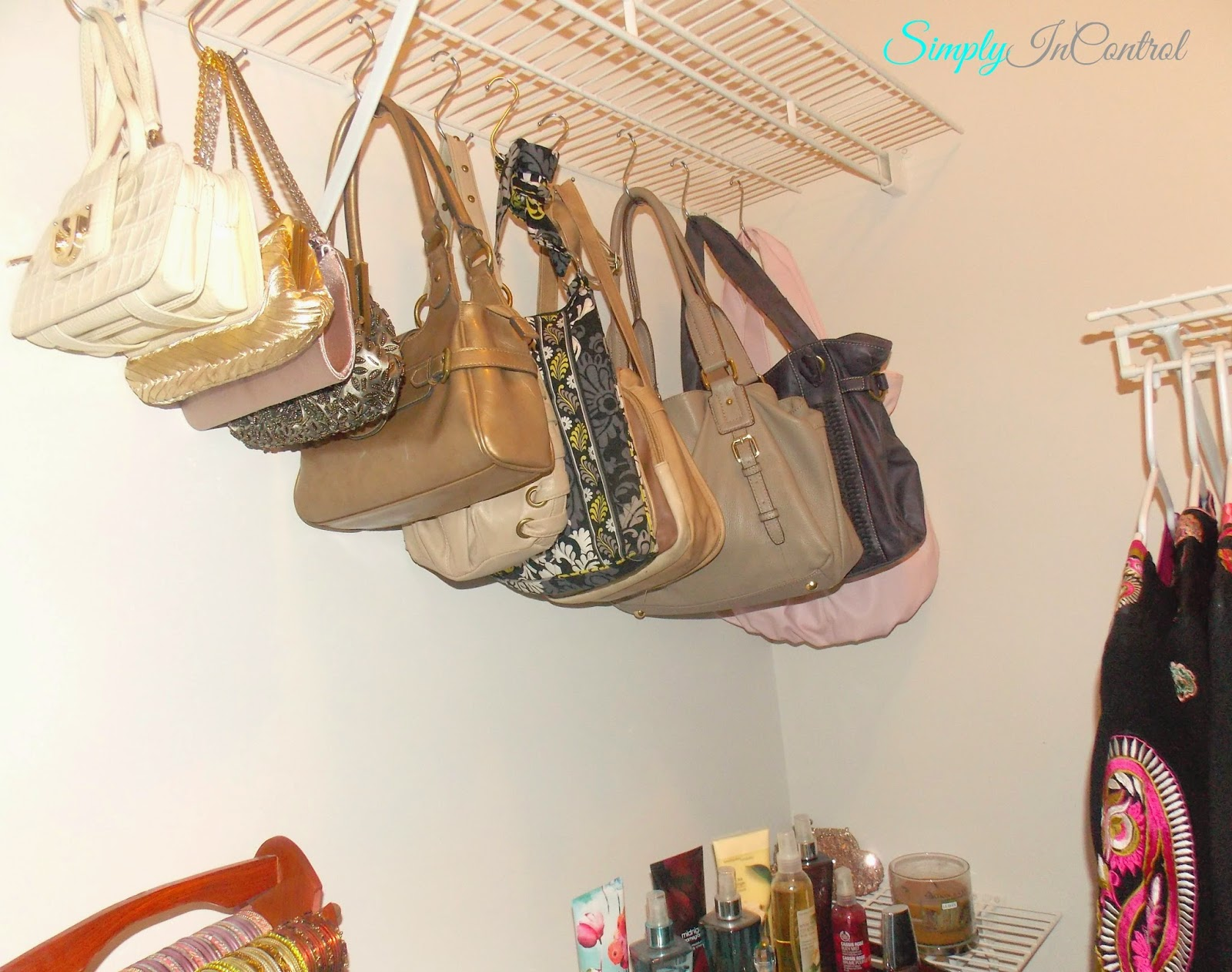 Simply in control closet organization how to give your for Hooks to hang purses