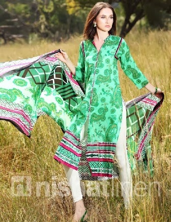 Green Printed Open Shirt Linen Dresses