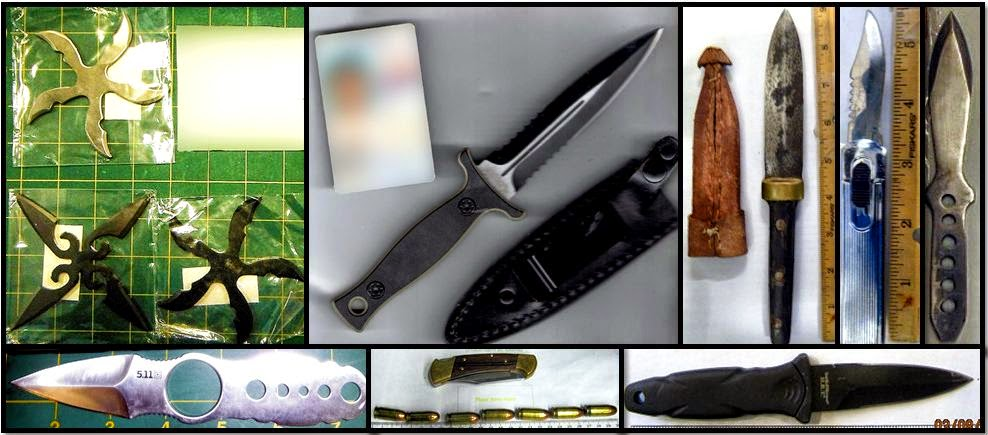 Clockwise from top left, knives and stars discovered at: LAS, PHX, DAL, DAL, SJC, DTW, PHF & LAS