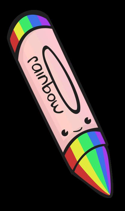 Lápis de arco-íris fofinho desenho colorido com fundo transparente