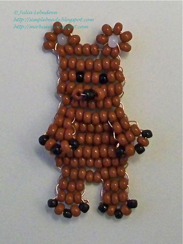 Медведь из бисера
