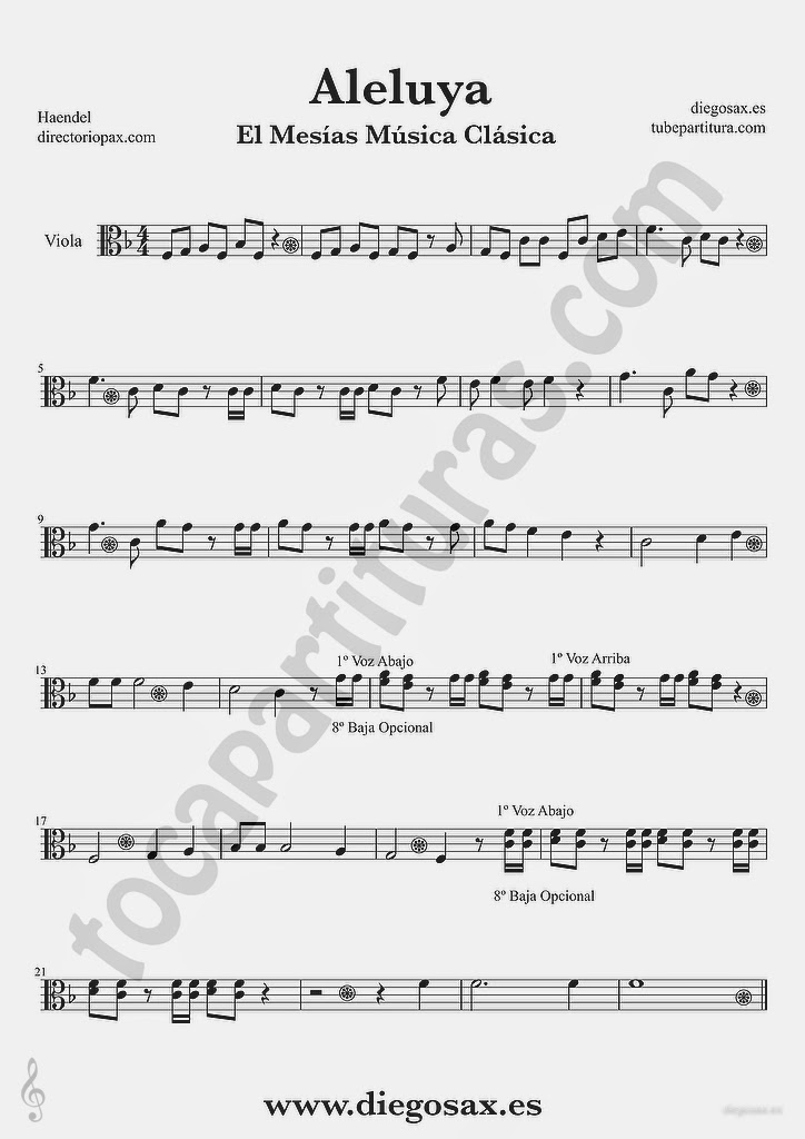 Tubescore Hallelujah by Handel Sheet Music for Viola