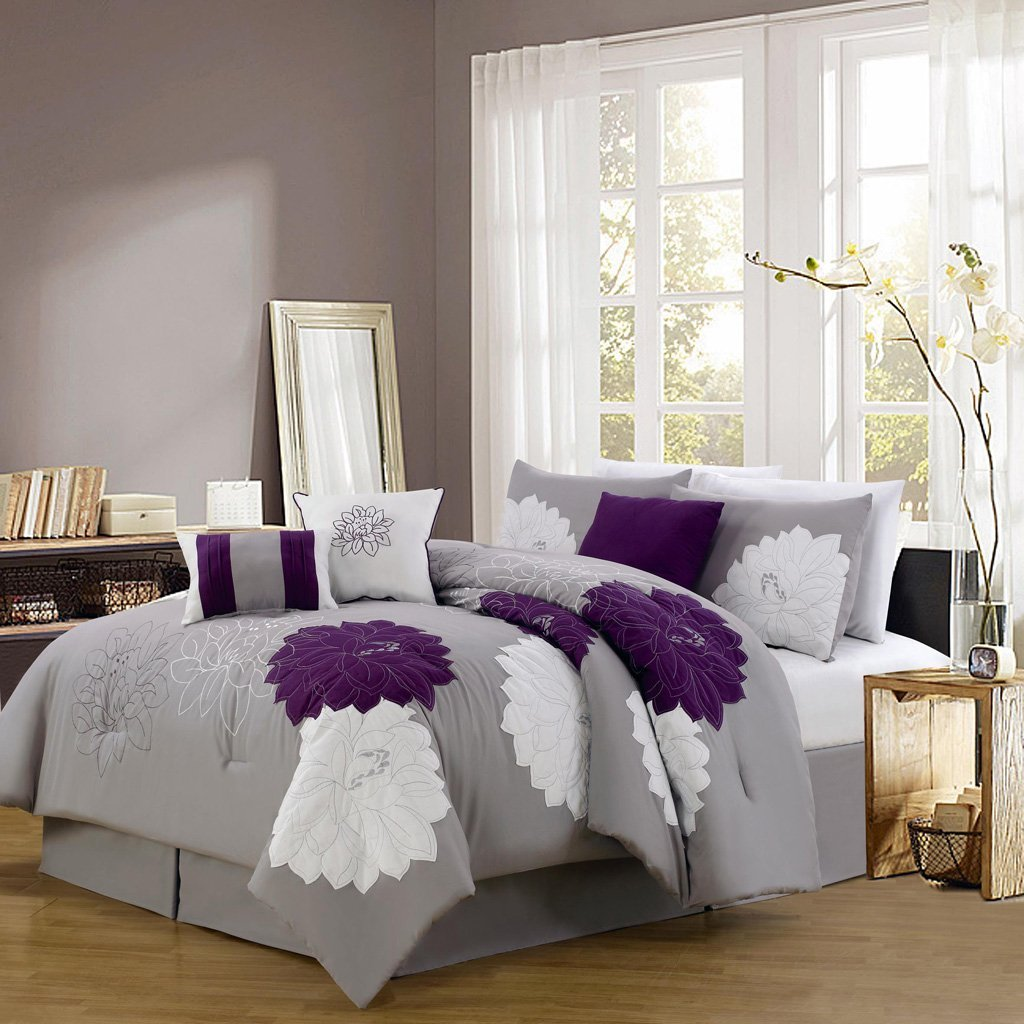 Purple And White Bed Sets - 11 pc grey and purple floral bed in a bag comforter sheet set