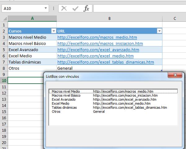 Vba Un Hiperv 237 Nculo Dentro De Un Listbox Excel Foro