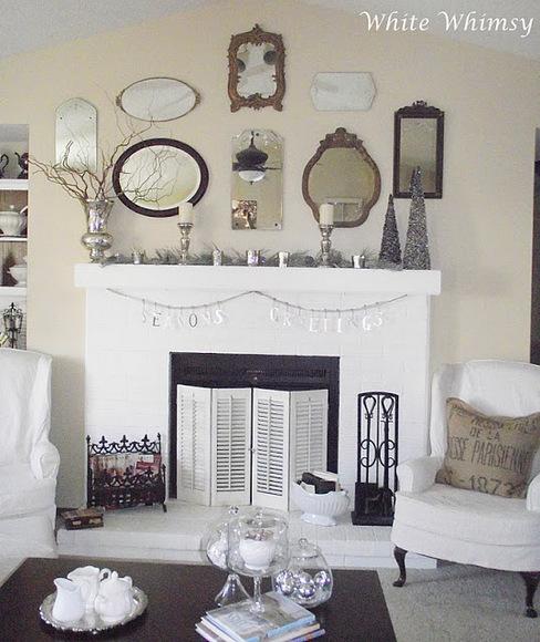 Mirrors above mantel