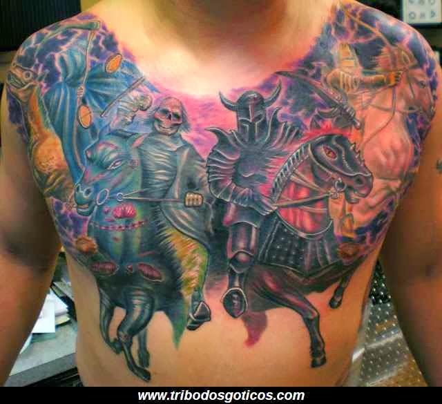 tatoo,caveira,peito,completa,colorida,gotica