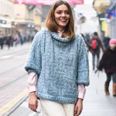 Karla Ljubičić, kiparice, ulična moda; Chic vintage style: turtleneck, the hair tuck and culottes