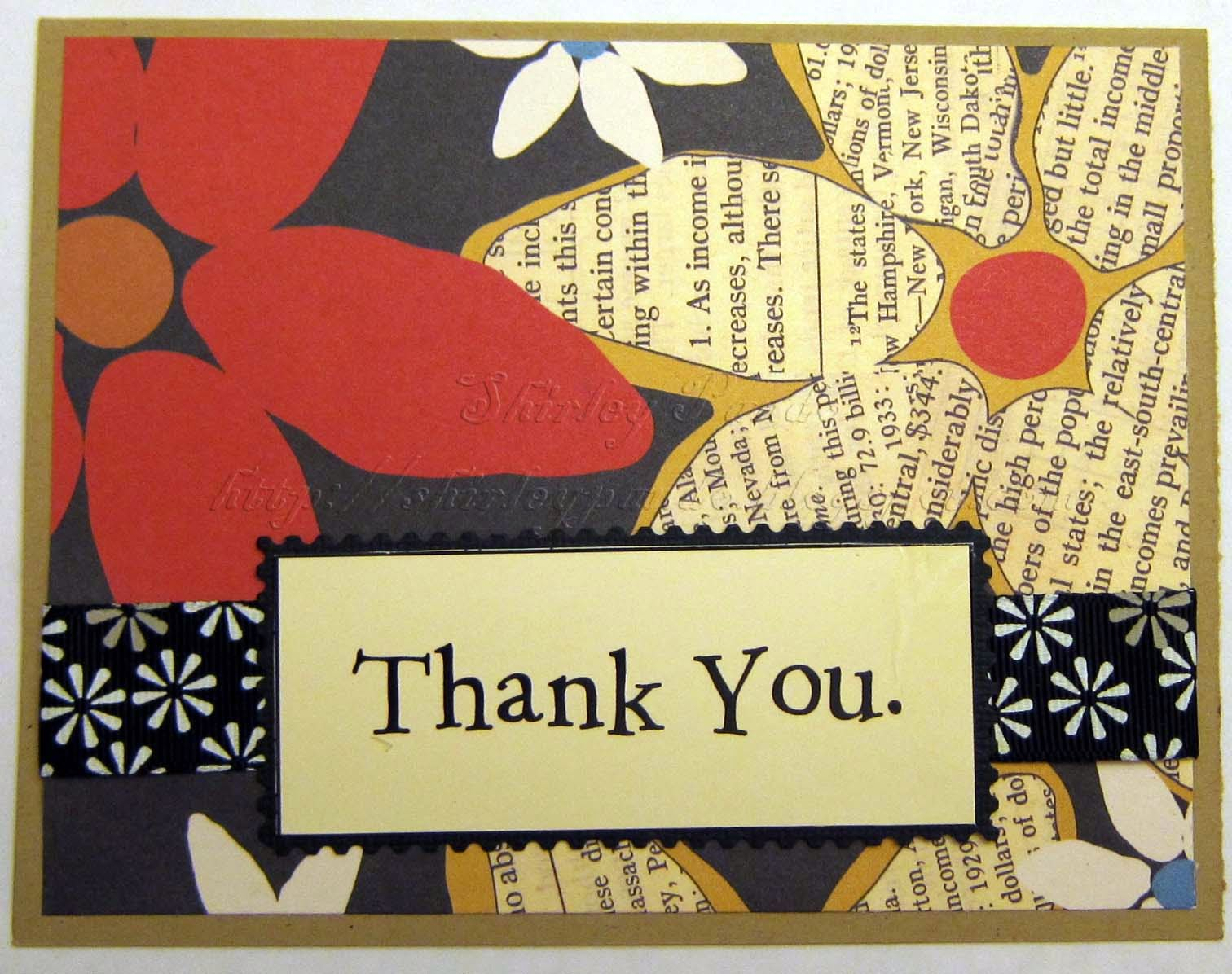 Red Black Thank You Card