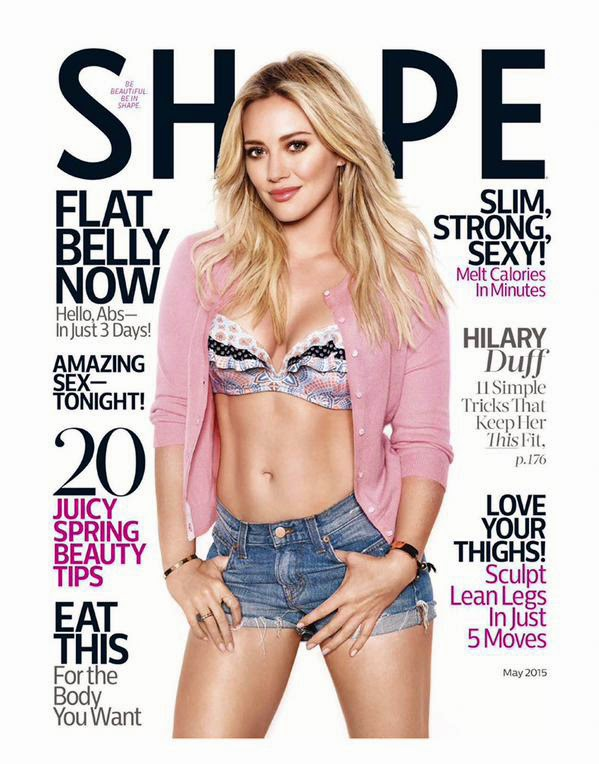 Hilary Duff graces the cover od Shape magazine may 2015