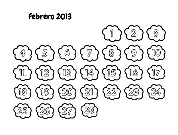 Recursos para el aula de lengua: Calendario para colorear Febrero 2013